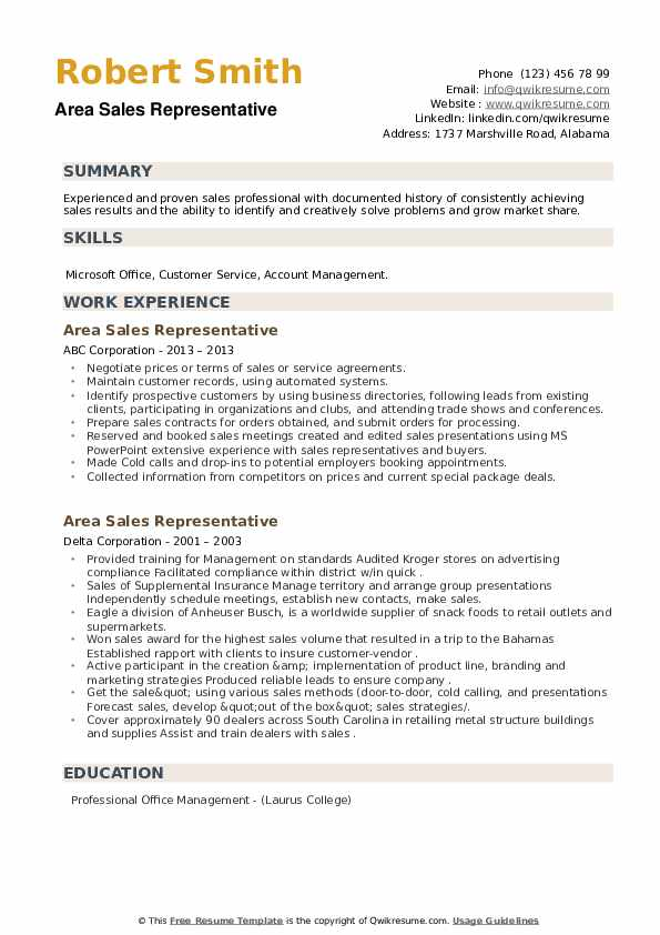 Area Sales Representative Resume example