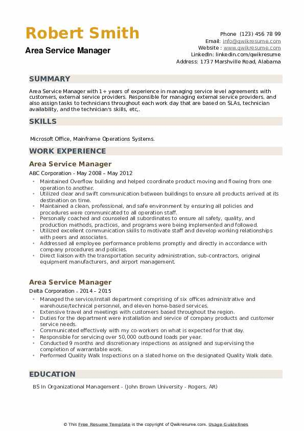 Area Service Manager Resume example