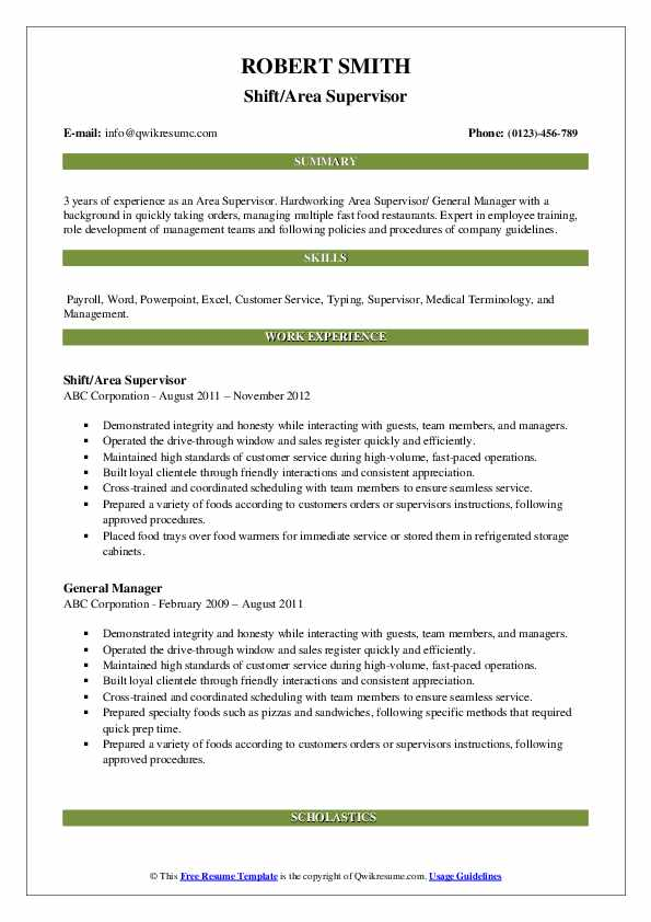 Shift/Area Supervisor Resume Example