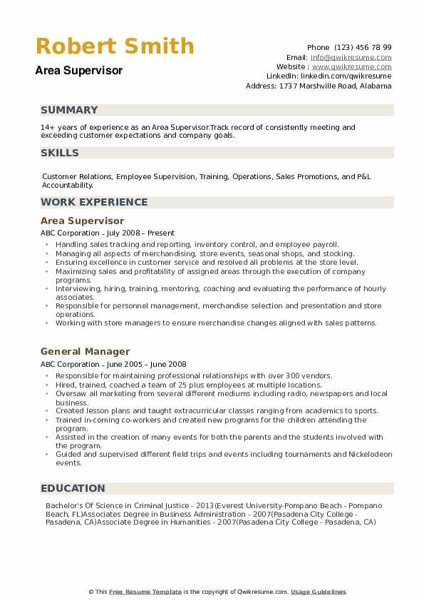 Area Supervisor Resume example