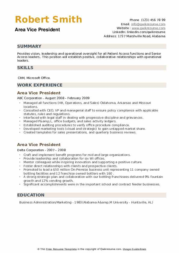Area Vice President Resume example