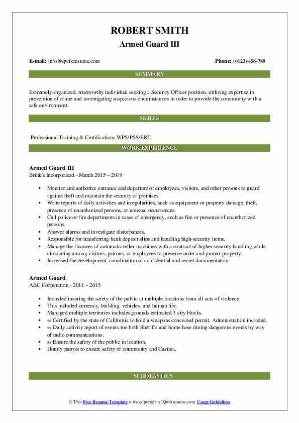Armed Guard III Resume Format