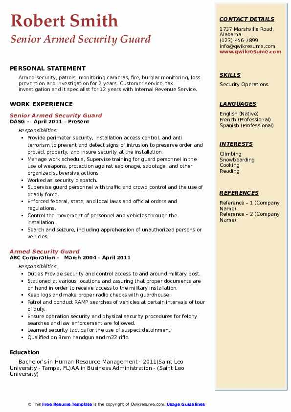 Armed Security Guard Resume Samples Qwikresume
