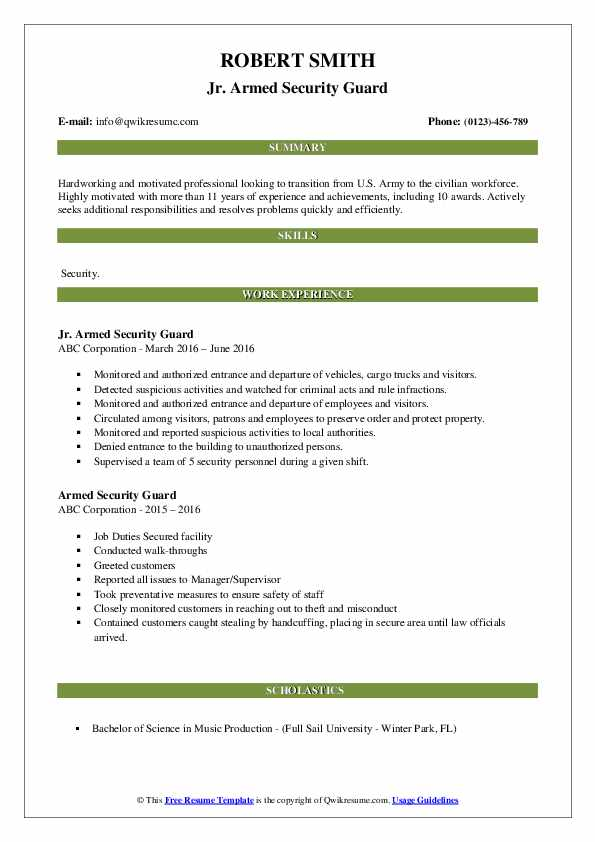 Armed Security Guard Resume Samples | QwikResume