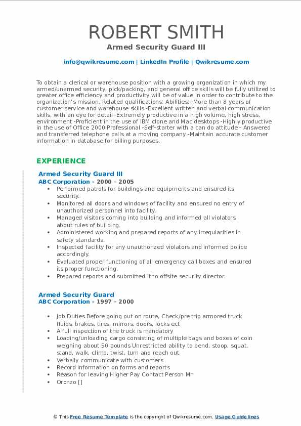Unarmed Security Guard/Security Officer Resume Model
