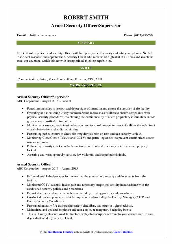 Armed Security Officer/Supervisor Resume Template