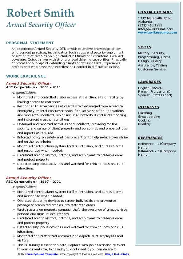 Armed Security Officer Resume Example