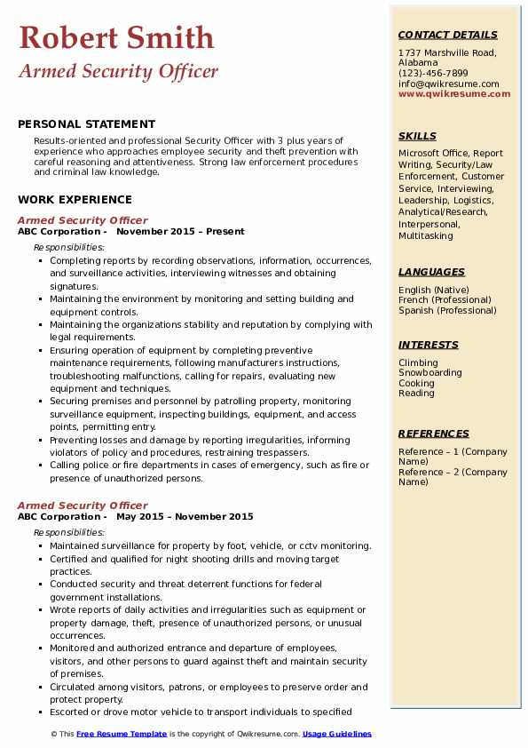 Armed Security Officer Resume Format