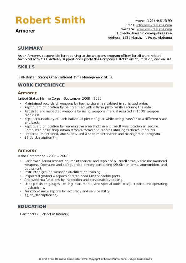 Armorer Resume example