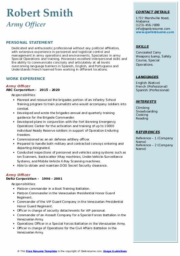army officer resume samples  qwikresume