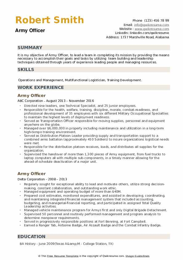 Army Officer Resume example