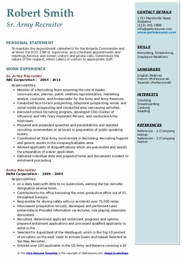 Army Recruiter Resume Samples Qwikresume