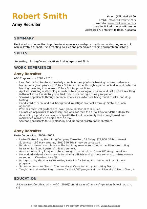 Army Recruiter Resume example