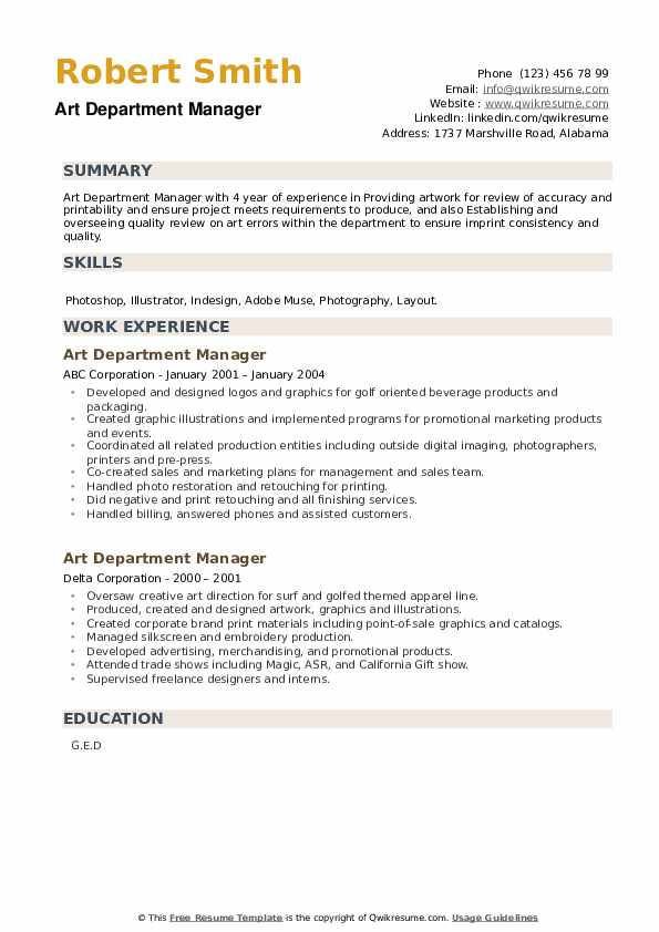 Art Department Manager Resume example