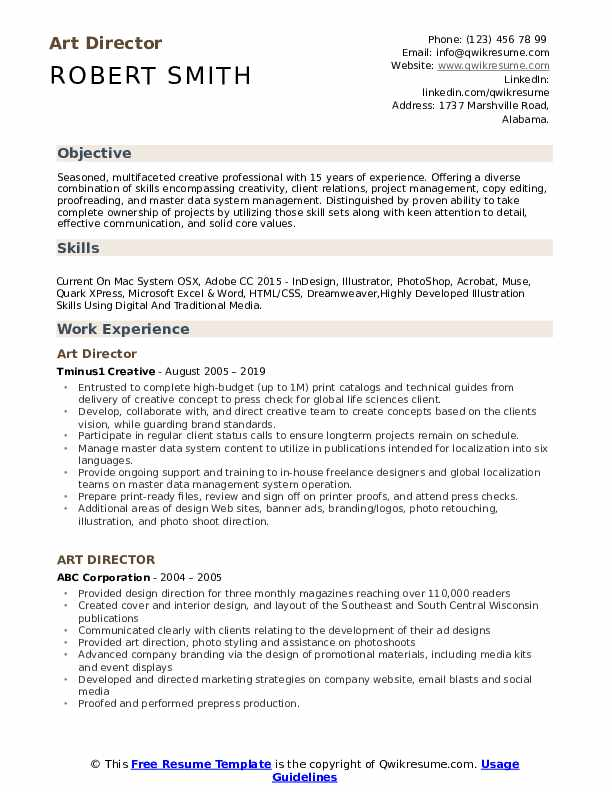 Art Director Resume Template