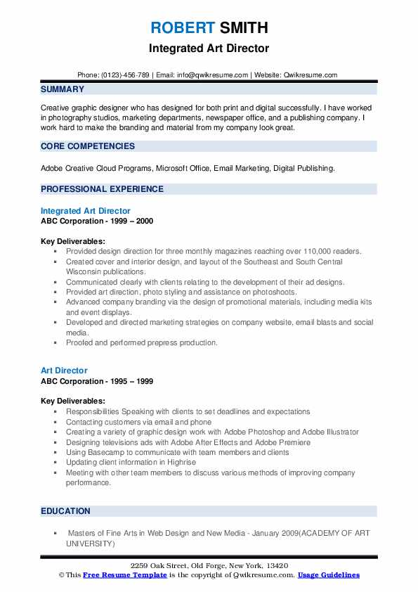 Integrated Art Director Resume Format