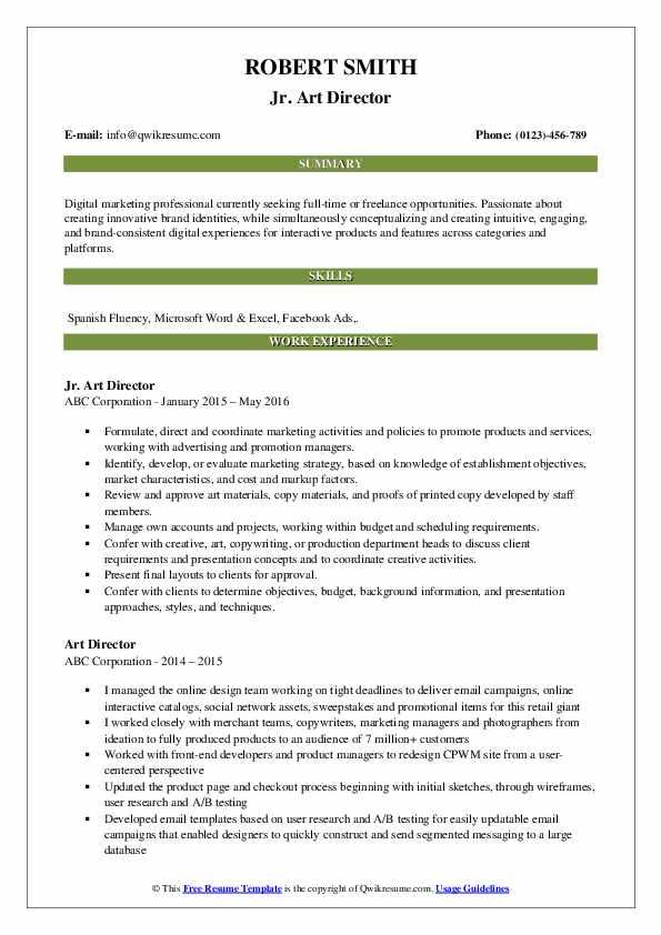 Jr. Art Director Resume Template