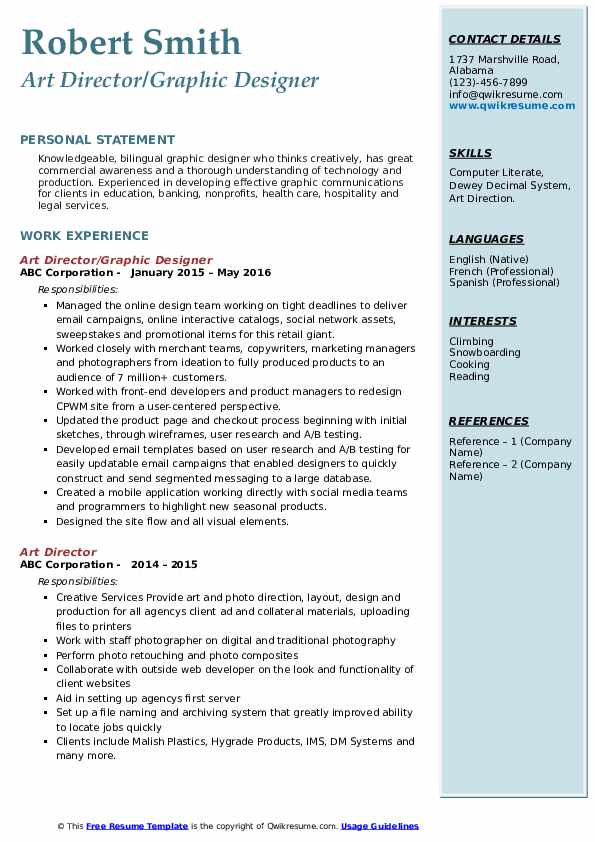Art Director/Graphic Designer Resume Format