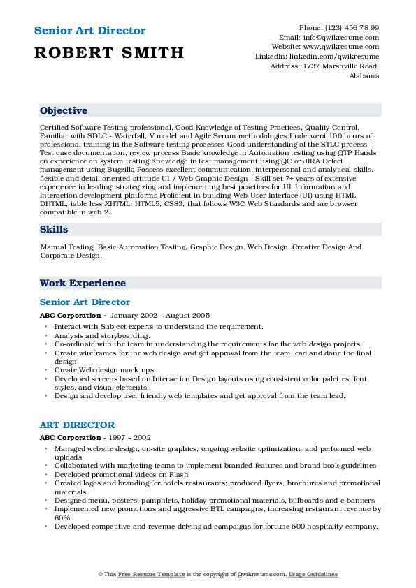 Senior Art Director Resume Sample