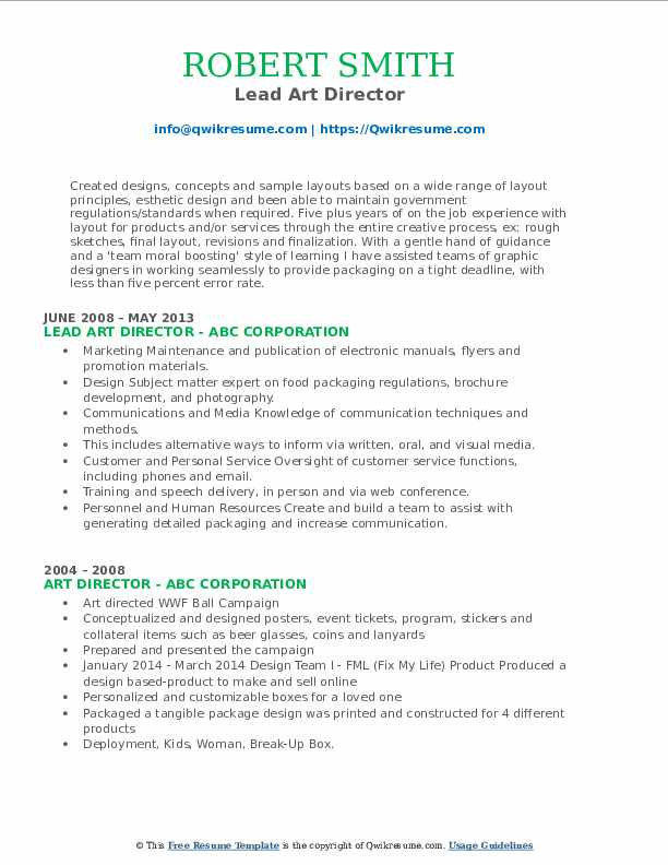 Lead Art Director Resume Template