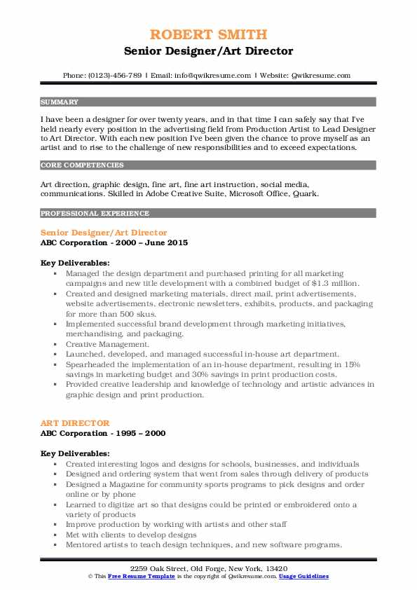 Senior Designer/Art Director Resume Model