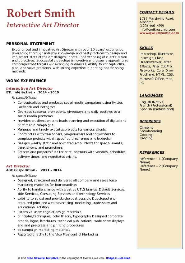 Interactive Art Director Resume Model