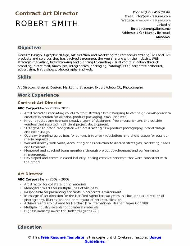 Contract Art Director Resume Sample