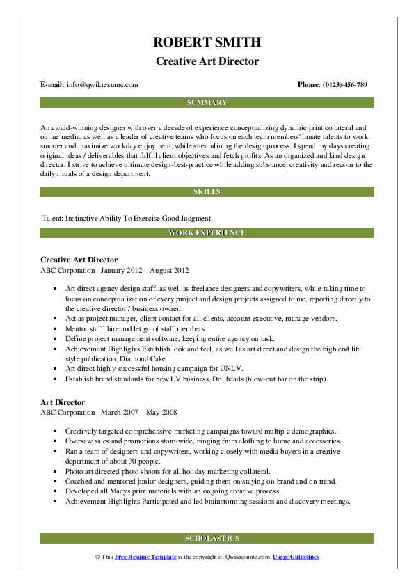 Creative Art Director Resume Model