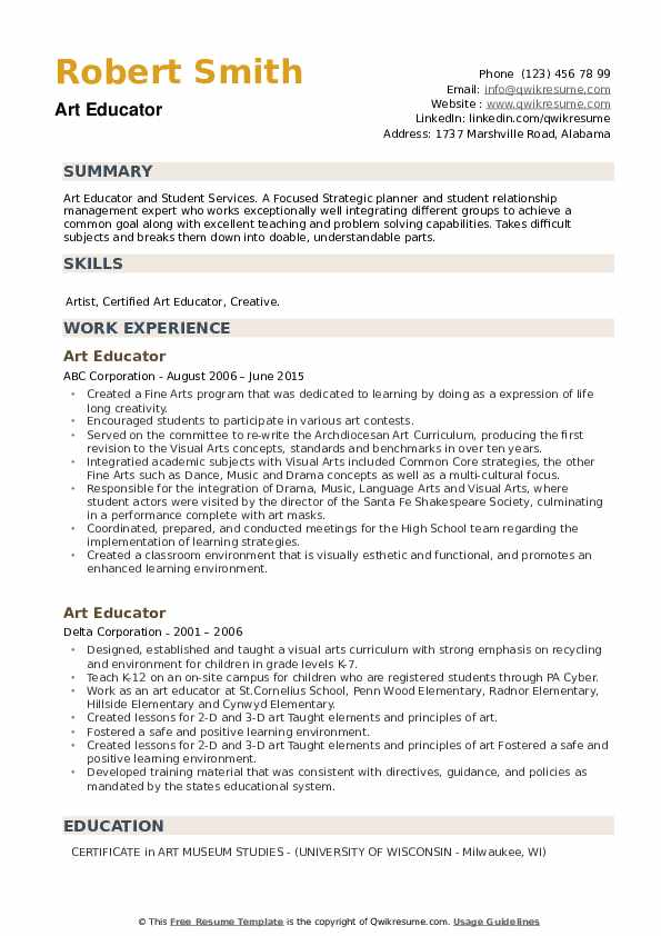 Art Educator Resume example