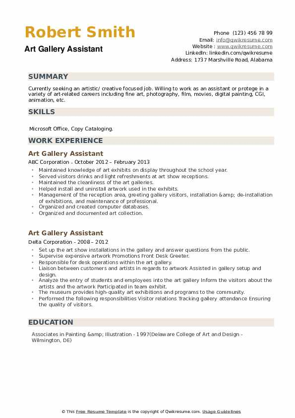 Art Gallery Assistant Resume example
