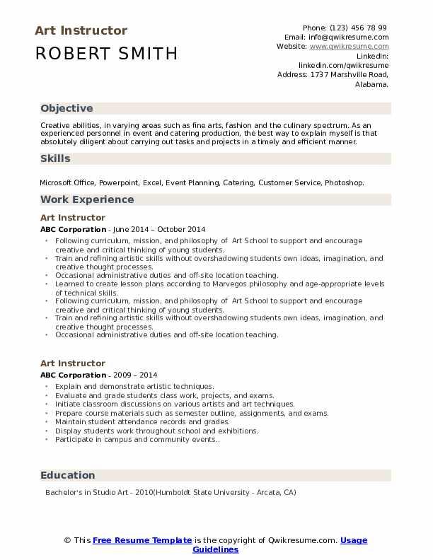 Art Instructor Resume Format