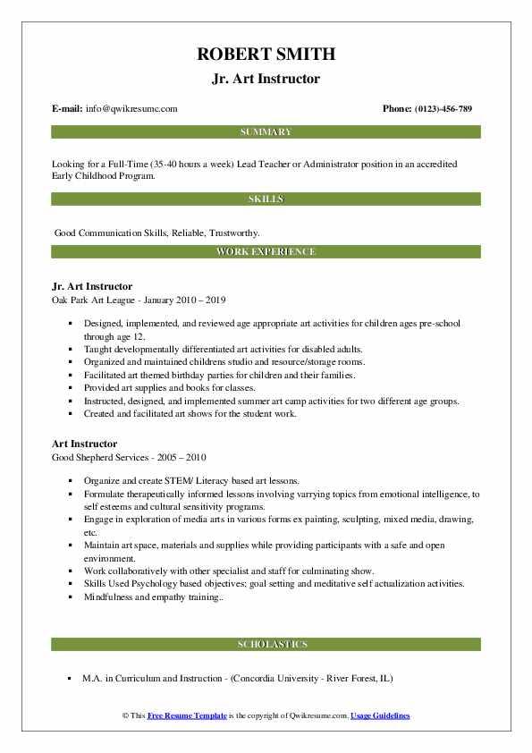 Jr. Art Instructor Resume Format