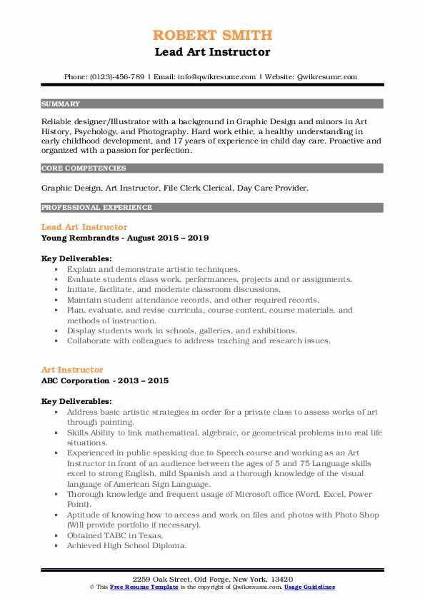 Lead Art Instructor Resume Model