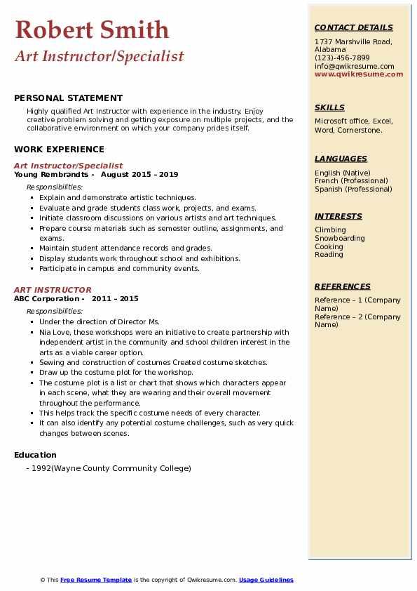 Art Instructor/Specialist Resume Sample