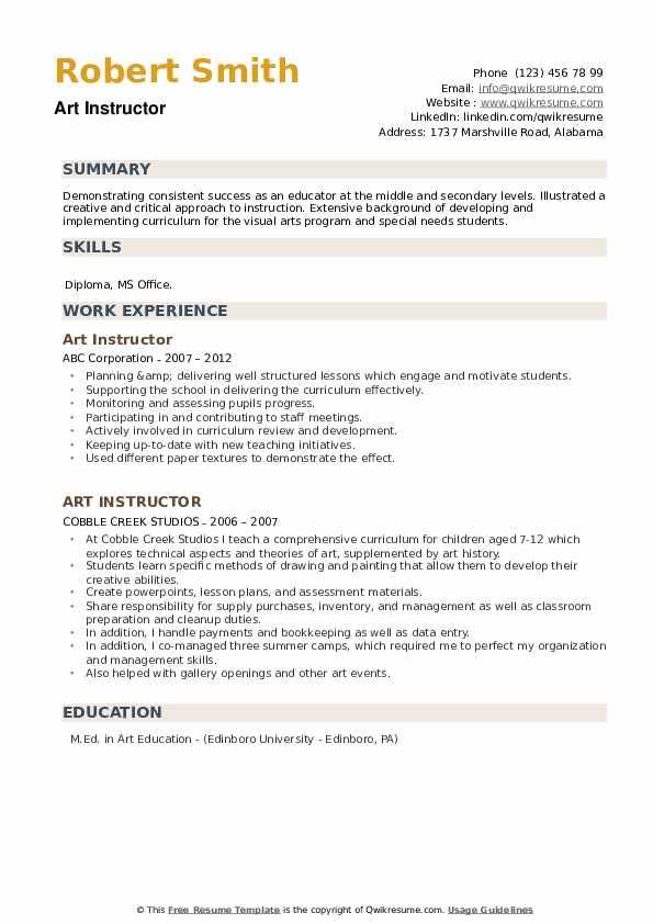 Art Instructor Resume example