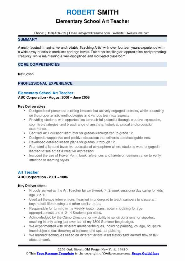 Elementary School Art Teacher Resume Format