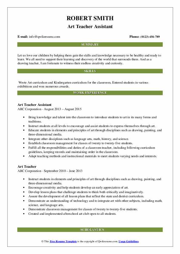 Art Teacher Assistant Resume Format