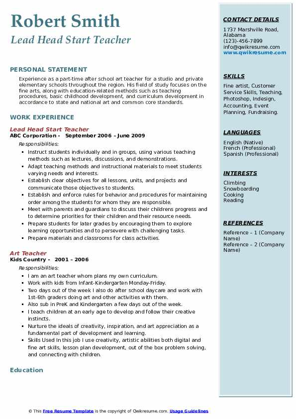 Lead Head Start Teacher Resume Sample