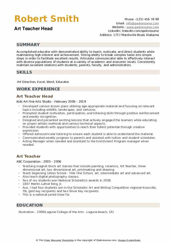 Art Teacher Head Resume Format