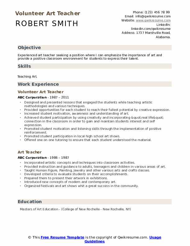 Volunteer Art Teacher Resume Sample
