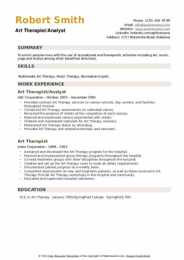 Art Therapist Resume example