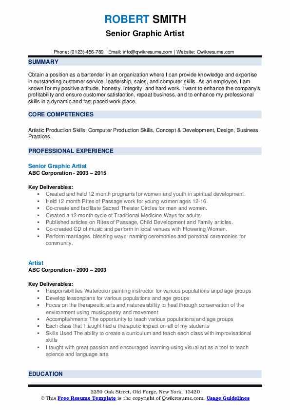 Senior Graphic Artist Resume Format