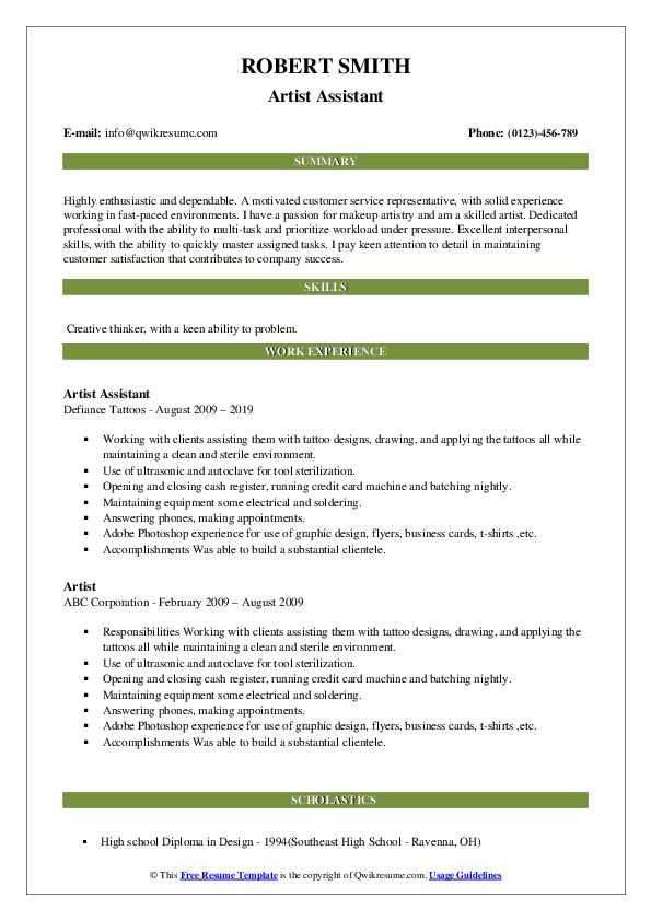 Artist Assistant Resume Model