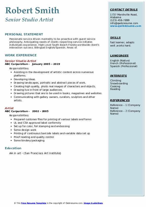 Senior Studio Artist Resume Format