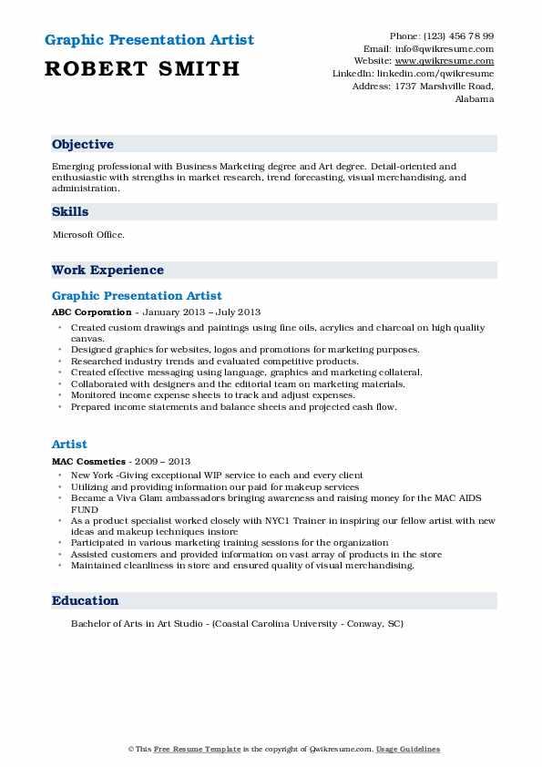 Graphic Presentation Artist Resume Format