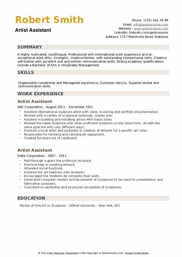 Artist Assistant Resume example