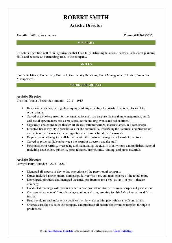 Artistic Director Resume Format