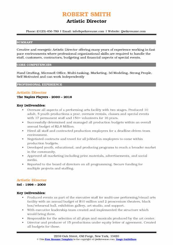 Artistic Director Resume Sample