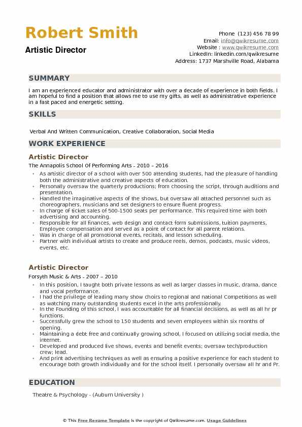 Artistic Director Resume Samples Qwikresume