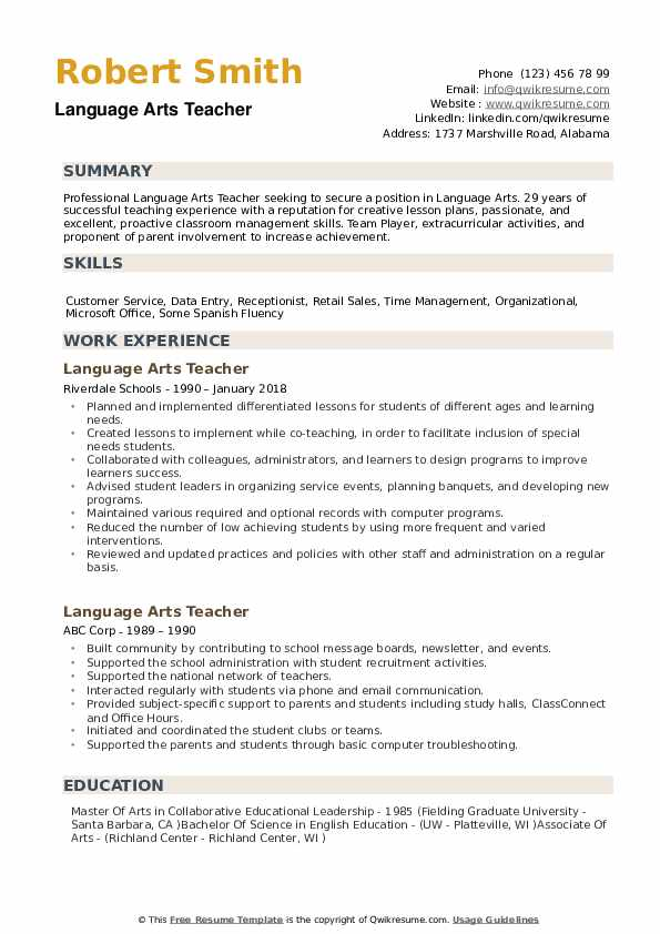 arts teacher resume samples